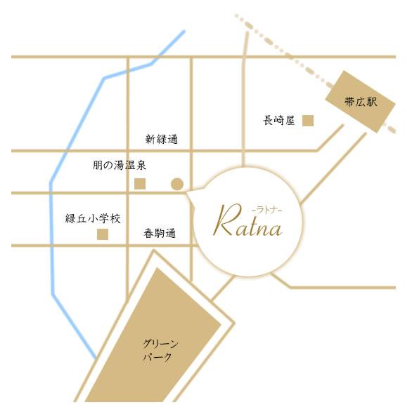 タイ古式マッサージのRatna-ラトナ-までのアクセスマップ